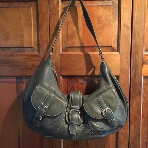 Tignanello Olive Pebble Leather Hobo Shoulder Bag